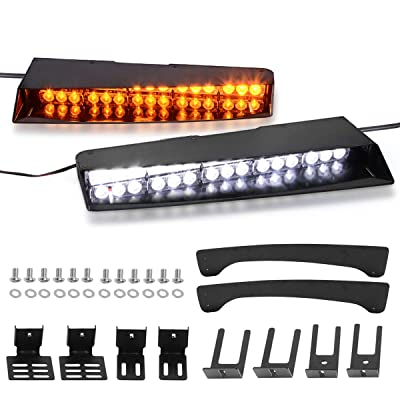 Amber White Visor Lights, YITAMOTOR 2-15 LED 26 Flash Patterns Emergency Visor Strobe Lights Windshield Interior Split Mount Visor Light Bar with Bracket (17 Inches-Amber+White): Automotive