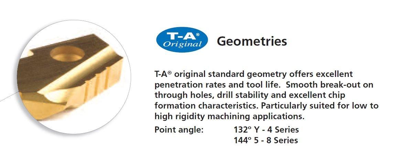 1-3//8 Diameter Allied Machine /& Engineering 152T-0112 TiN Coated Super Cobalt Original T-A Drill Insert Series 2 Pack of 2