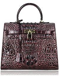 PIJUSHI Women's Padlock Genuine Leather Tote Satchel Top Handle Handbags