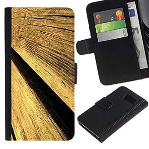 iKiki Tech / Cartera Funda Carcasa - Wood Wall Fence Design Architecture Material Art - Samsung Galaxy S6 SM-G920