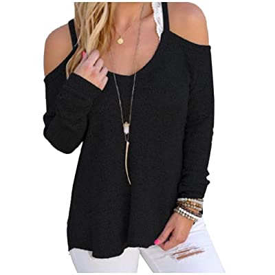Abetteric Womens Cold Shoulder Long Sleeve Cozy Knitted Sweatshirts