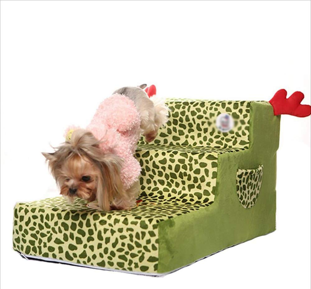 Greenleopardprint MODYY Pet Stairs Teddy Bear Poodle Dog Cat Stairs Dog Mat Washable Stairs,greenleopardprint