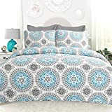 Image of DriftAway Drift Away 3 Piece Bella Reversible Quilt Set Repeated Medallion Pattern, 100% Cotton, Pre-washed, Aqua /Gray (King)