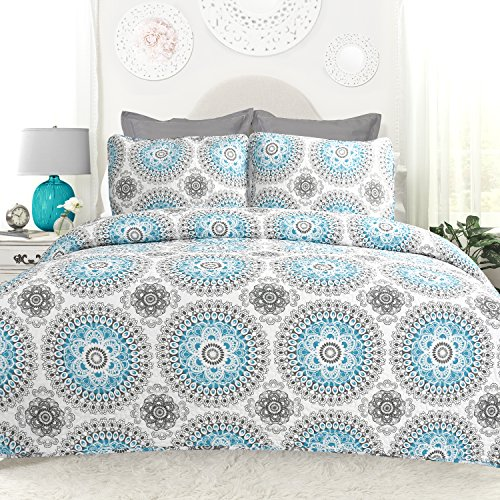 (DriftAway 3 Piece Bella Reversible Quilt Set/Bedspreads, Coverlets, Repeated Medallion/Floral Pattern, 100% Cotton Cover, Pre-Washed, Aqua/Gray (Full/Queen))