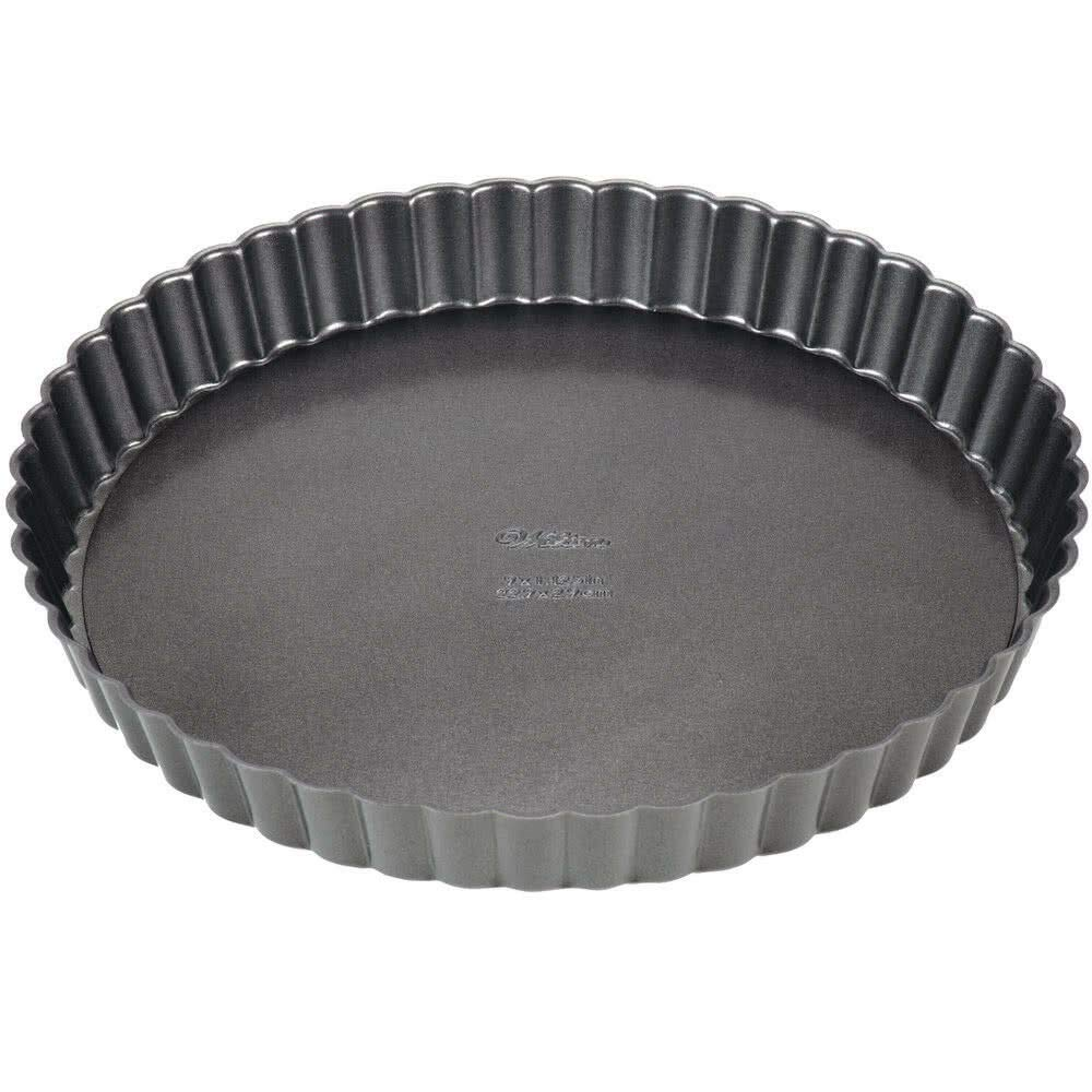 Akkapeary Non-Stick Round Tart Quiche Pan 9 x 1.2 Inch Dishwasher Safe Recipe Included Heavy-Duty Steel Removable Bottom Baking Kitchen Tool Grey