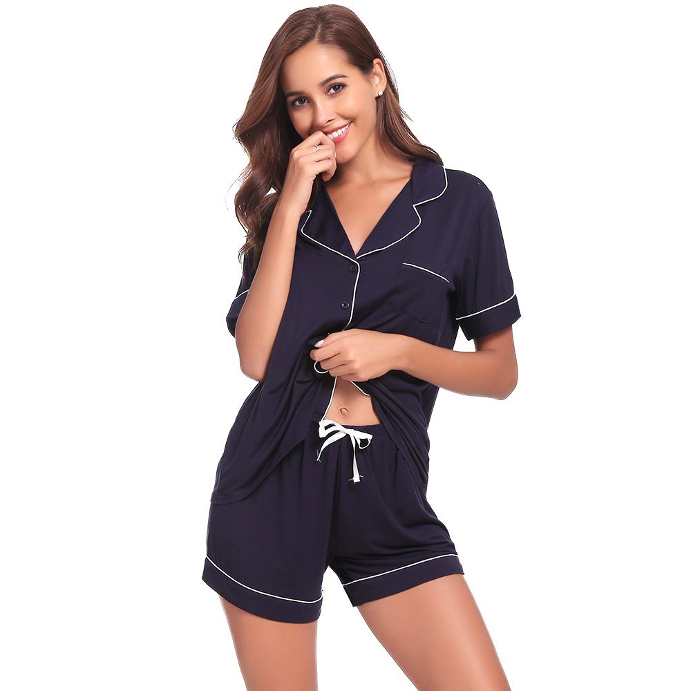 Womens Pajamas Short Sets AMP005 Navyblue M by Seaside (Image #3)