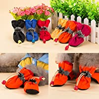 TTnight 4Pcs Dog Waterproof Shoes Snow Rain Protective Boots Anti-Slip Shoes Booties for Puppy Pet Dog Cat - 6 Sizes for Your Pet Choose - Color Random