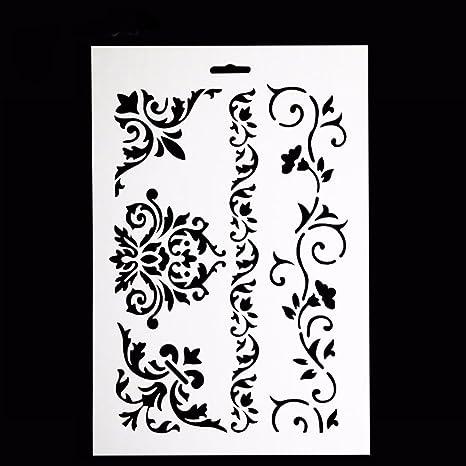 accogliente fresco ampia scelta di colori e disegni Acquista autentico Nuovo stencil mascherina motivo decorazione DAMASCATA torta ...