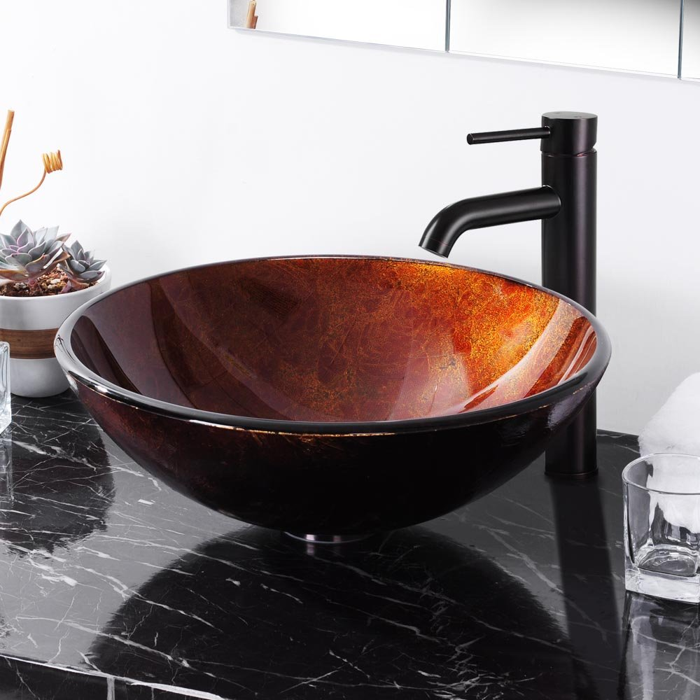 Yescom Modern Bathroom Round Artistic Tempered Glass Vessel Vanity Sink  Bowl Basin Spa     Amazon.com