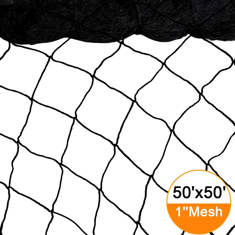 Bird Netting 50 X 50 Heavy Duty Nylon Netting for Bird, Poultry,Deer and Other Pests 1 Square Mesh Size Garden Netting to Protect Fruit Trees, Plants and Vegetables 50 50 -1