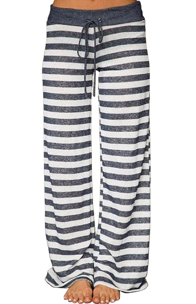 AMiERY Women's Summer Striped Pjs Pregnancy Pant Comfy Stretch High Waist Wide Leg Lounge Palazzo Pajamas Pants (M, Grey Striped)