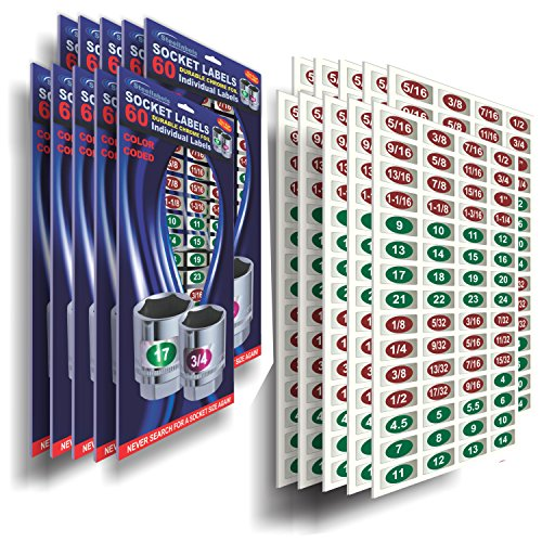 Manufacturers 10 Pack - Chrome Socket Labels (Green Edition) - Tool Tags for Metric & SAE Socket Sets & Wrenches tough chrome foil organizer decals, great for mechanic & craftsman plus tool lovers