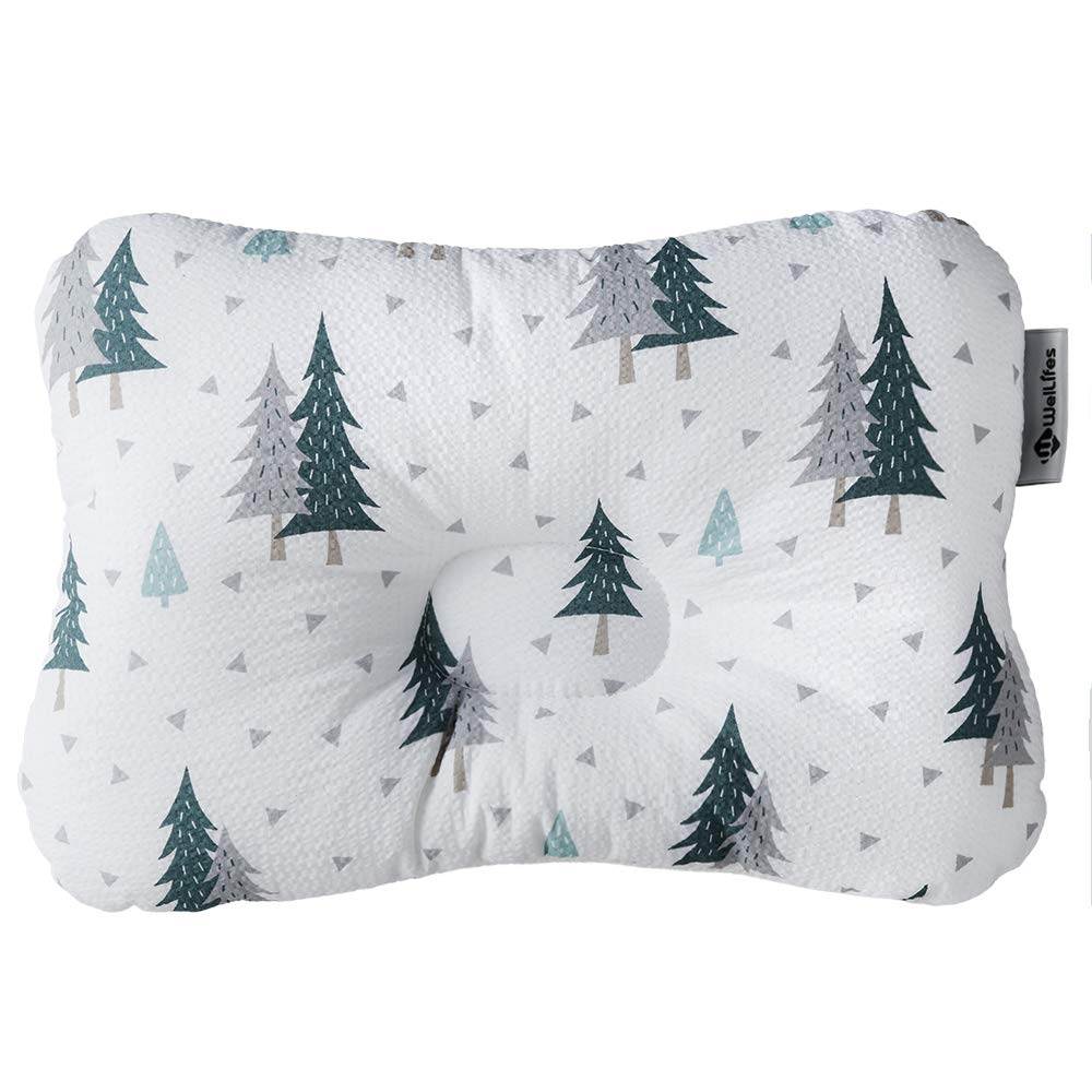 Baby Pillow for Newborn Breathable 3D Air Mesh Organic Cotton, Protection for Flat Head Syndrome Forest