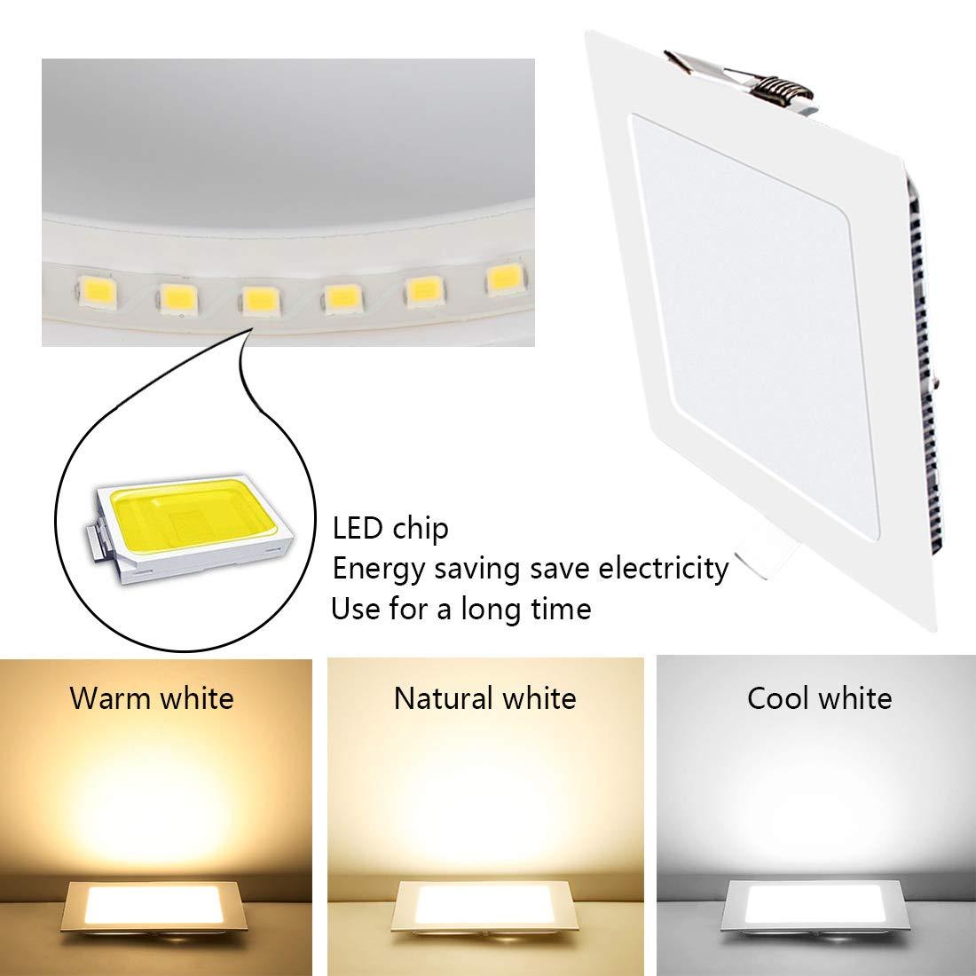 4 Pack LED Panel Light 6W 3000K Ultra Slim Spotlight Square Indoor Lighting Panel Light for Home Living Room Bedroom Bathroom Office Corridor Hallways Flush Mount Ceiling Light