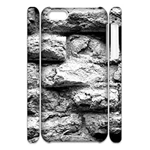 3D Case For IPhone 5C, Old Brick Wall Black And White Case For IPhone 5C, Zachcolo White