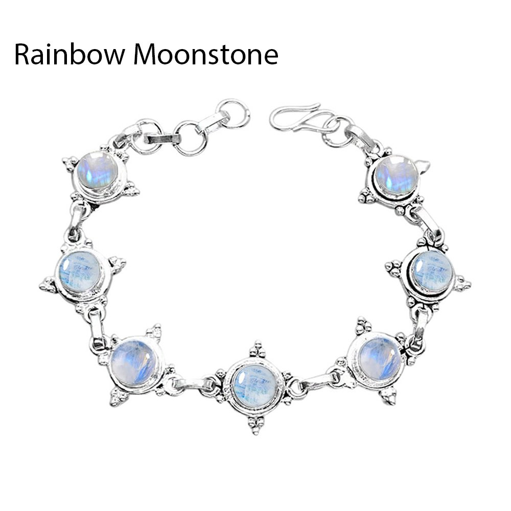 11.20ctw,Genuine Rainbow Moonstone & 925 Silver Plated Bracelet Made By Sterling Silver Jewelry by Sterling Silver Jewelry (Image #1)