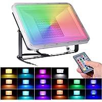 100W RGB Foco LED con Control Remoto 8000lm,16 Colores y 4 Modos, Foco Proyector LED Exteriores con Función de Memoria…