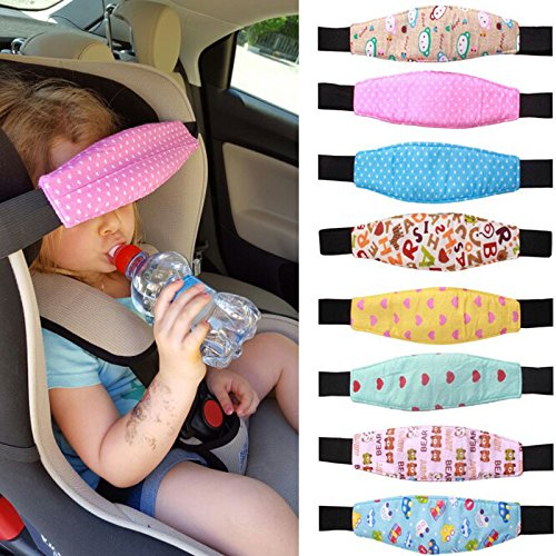 Child Car Safety,ZQUS,Sleep Artifact Child Safety, Seat Head Fixing Auxiliary Cotton Belt Pram Secure Strap Doze Band for Baby Pram Child Safety Seat,Random Color (3 PCS)