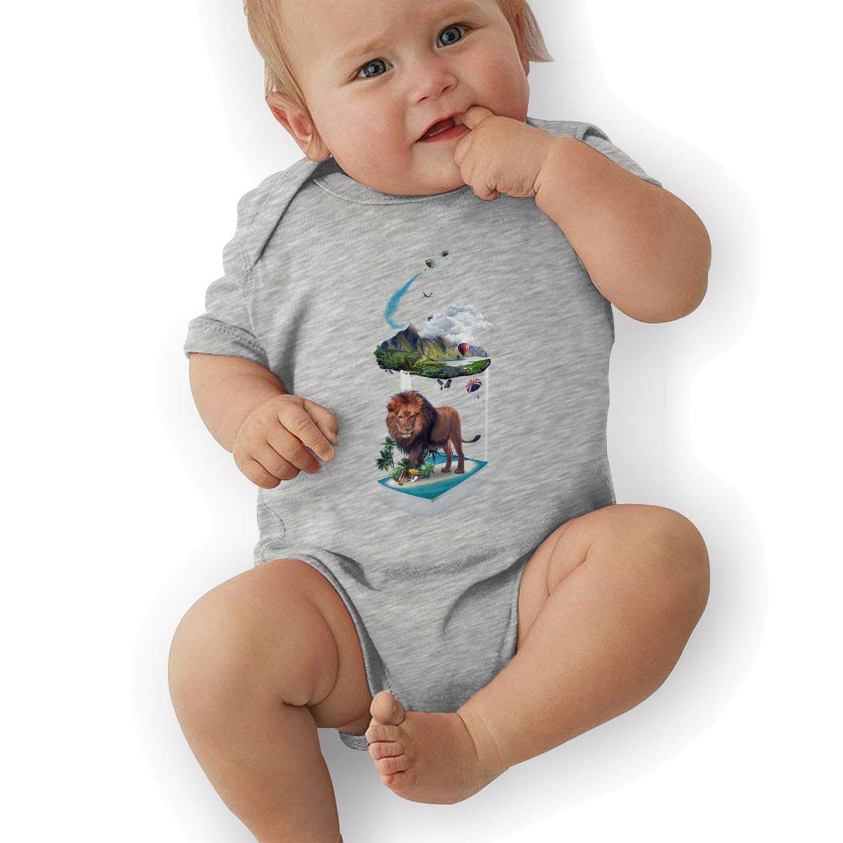 Newborn Baby Boys Bodysuit Short-Sleeve Onesie Creative Suspension Print Outfit Spring Pajamas