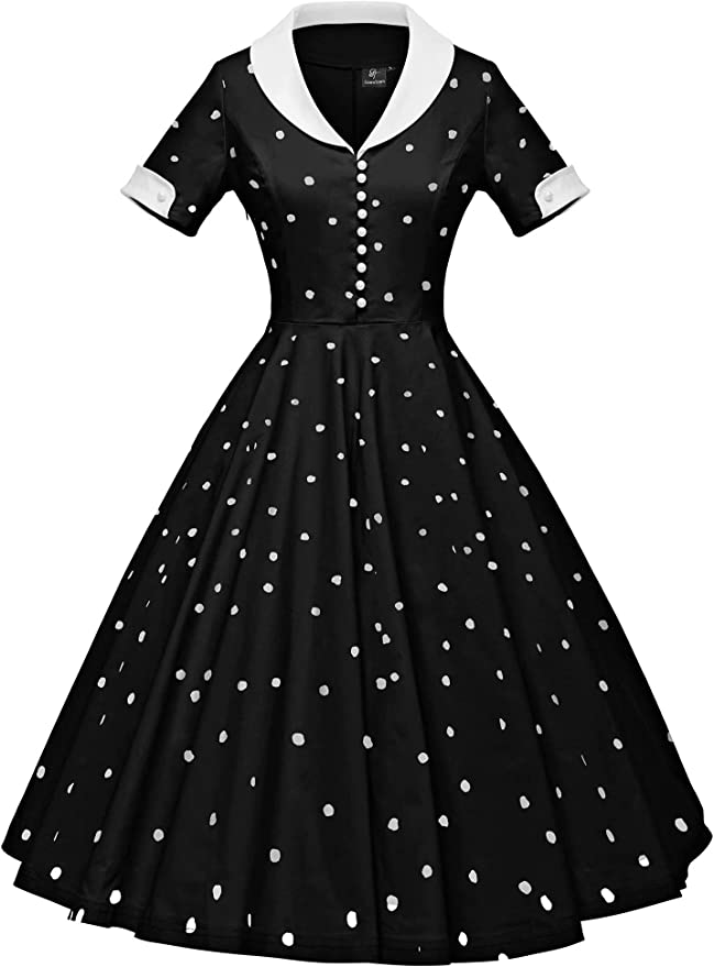 Small Size 6 Black and Orange Floral Taffeta Vintage 1950/'s Dress with Detachable Capelet Collar