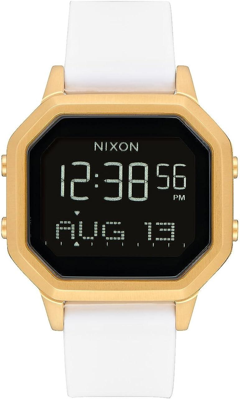 Nixon Siren SS A1211508 - Reloj digital para mujer con caja dorada y correa de silicona blanca.