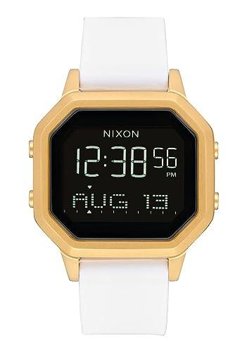 Nixon Siren SS A1211508 - Reloj digital para mujer con caja dorada y correa de silicona blanca.: Amazon.es: Relojes