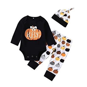 f96ff682c7eb Cute Infant Baby Girl Boy 3PC Pumpkin Clothes Long Sleeve Pumpkin Romper  with Hat and Pants