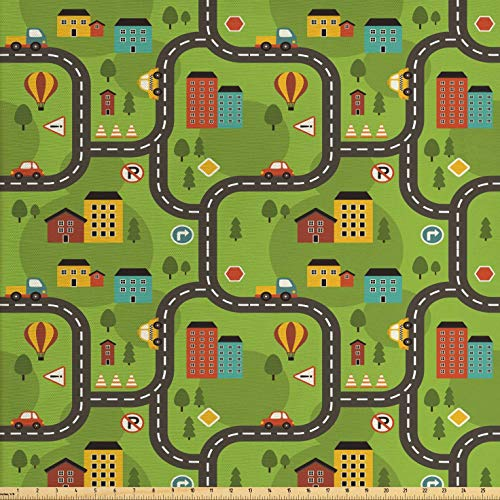Ambesonne Kids Car Race Track Fabric by The Yard, Cartoon for sale  Delivered anywhere in USA
