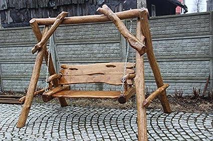 Dondolo Da Giardino In Legno : Rustico a dondolo da giardino in legno massiccio fatto a mano in