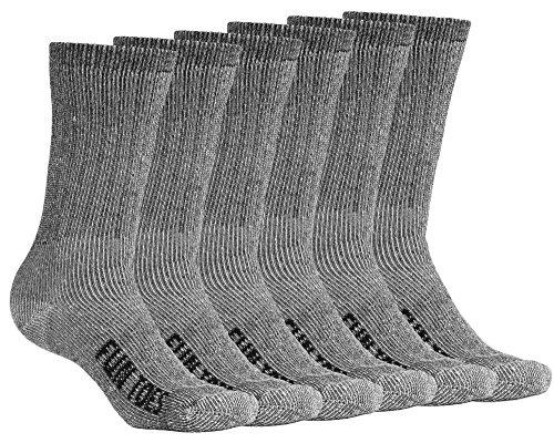 FUN TOES Men's Merino Wool Socks -6 Pack Value- Lightweight,Reinforced-Size 8-12 (Blue)