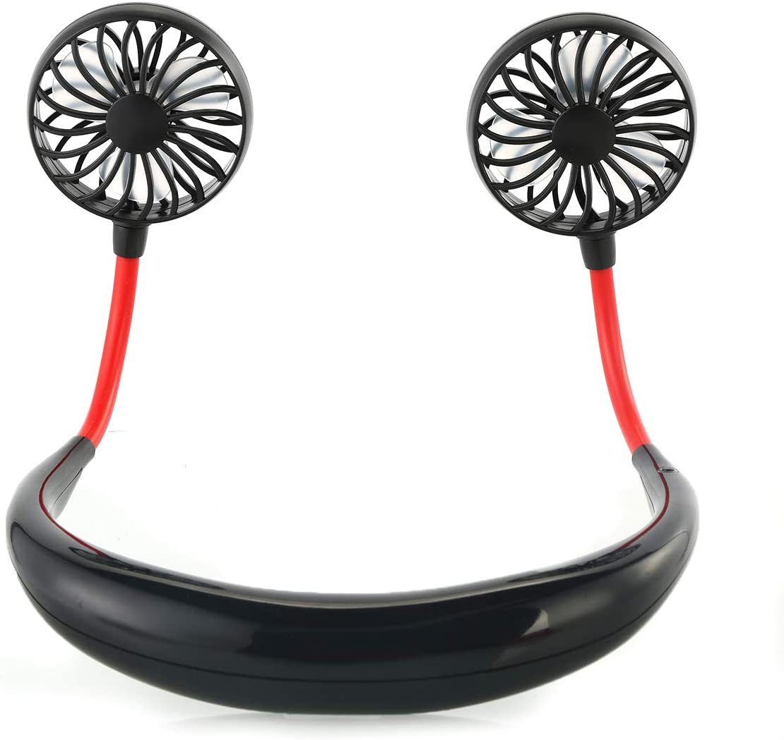 Hand Free Mini Fan Portable Wearable USB Rechargeable Personal Neckband Fan with 3 Speed for Indoor Outdoor Black