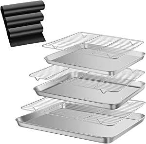SUS304 Baking Sheets with Racks,Thickened Non-Magnetic Food Grade Stainless Steel Roasting Pans Bakeware Cake Pan Oven Tray,No Deformation at 1000℃,Easy Cleaned(3 Sheets+3 Racks+3 Oven Liners)
