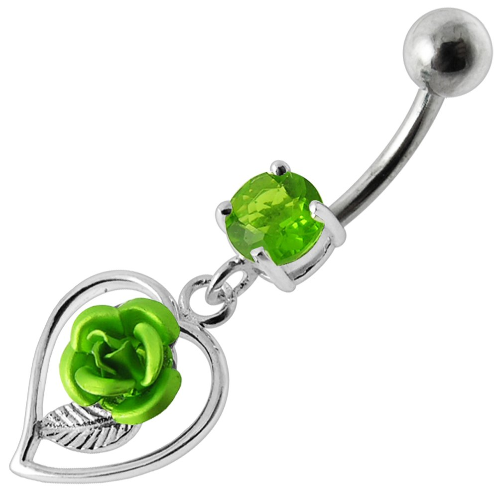 CZ Stone with Rose in Heart Dangling Design 925 Sterling Silver Belly Button Piercing Ring Jewelry