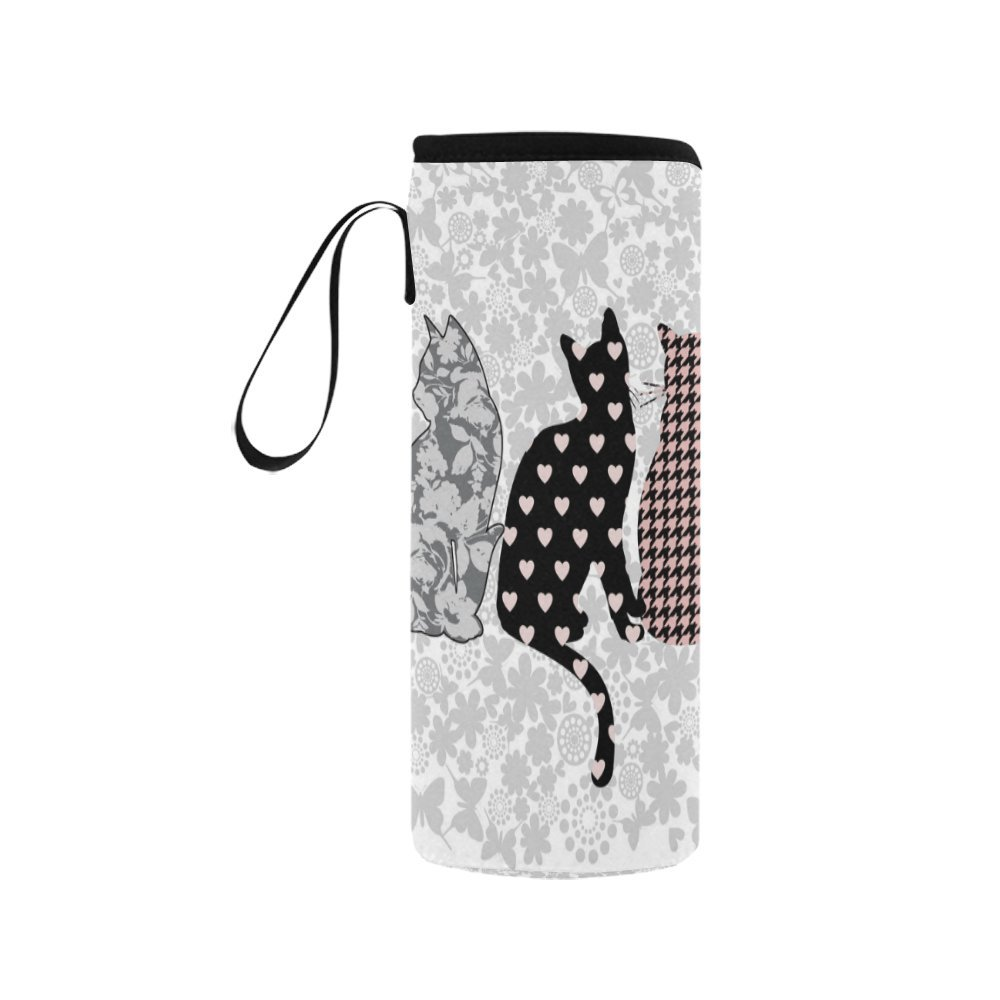 InterestPrint Funny Cat Floral Neoprene Water Bottle Sleeve Insulated Holder Bag 12.32oz-15.14oz, Animal Heart Dots Sport Outdoor Protable Cooler Carrier Case Pouch Cover with Handle