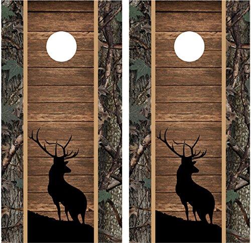 Miller Graphics Elk Buck Silhouette Camo Wood Laminated Cornhole Board Decal Wrap Wraps
