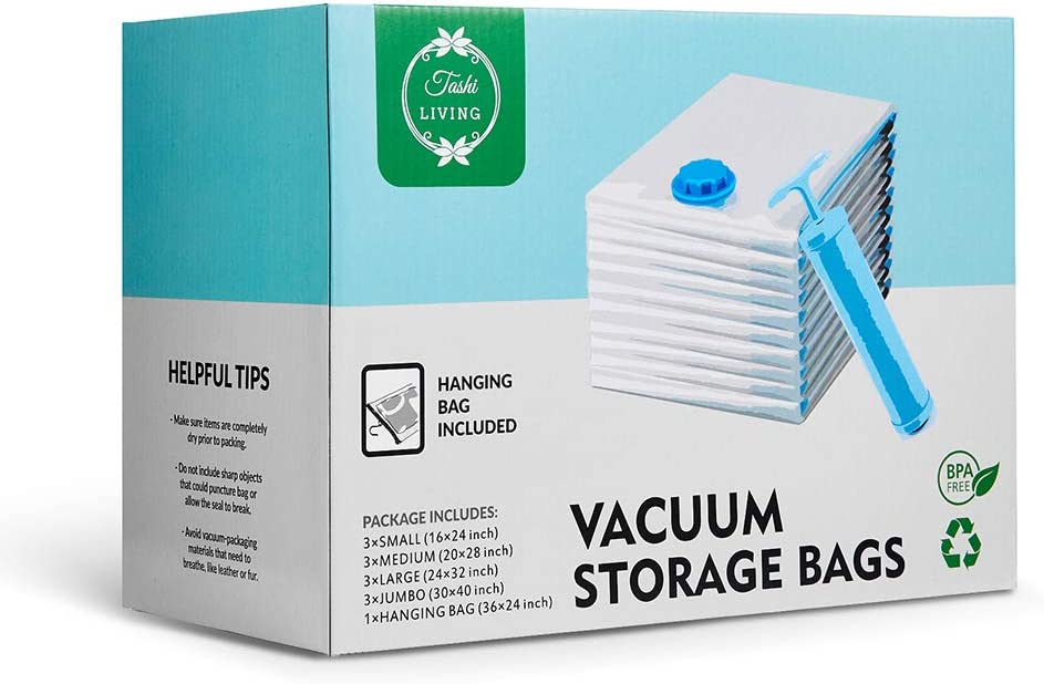 TashiLiving Vacuum sealer Storage Bags Variety Size [ 12 Packs + 1 Cloth Hanging bag], 80% space saving bags for clothes, with Hand-Pump for Travel