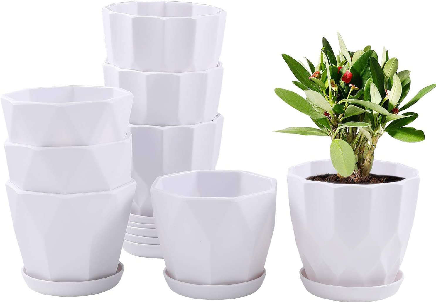 4.5 Inch Plant Flower Pots Indoor Plastic Planters with Drainage Hole Set of 8 Modern Planting Pots Great for Plants, Herbs, African Violets, Foliage Plants, Crafts Home Decorations (White)