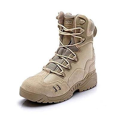 268c193fe1a Newbestyle Chaussures de Randonnée Hommes Bottes Militaire Cuir Patrouille  Combat Armée Tactique Recrues Armée Désert Sécurité