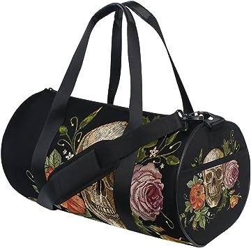 Gym Bag Sports Holdall Watercolor Hummingbird Floral Canvas Shoulder Bag Overnight Travel Bag for Men and Women