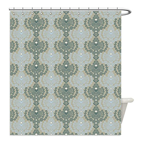 Funny Sims Costumes (Liguo88 Custom Waterproof Bathroom Shower Curtain Polyester Decorative Abstract Art Damask Decor Floral Ornament Background Wallpaper Pattern Print Blue and Taupe Decorative bathroom)