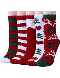 5 Pairs Women Warm Fuzzy Fluffy Socks Super Soft Cozy Home Slipper Socks