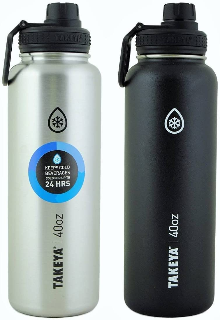 Takeya ThermoFlask 2 Pack 40 oz Black and Silver