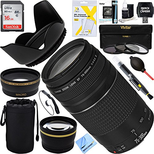 Canon EF 75-300mm F4-5.6 III Lens + 16GB Wide-Angle & Telephoto Ultimate EOS Lens Kit (Certified Refurbished) by Beach Camera