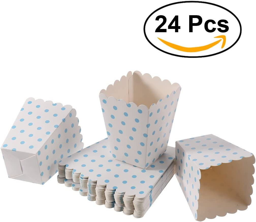 NUOLUX Popcorn Boxes,Candy Containers Cartons Paper Bags,12 x 6 CM,24pcs Dark Blue
