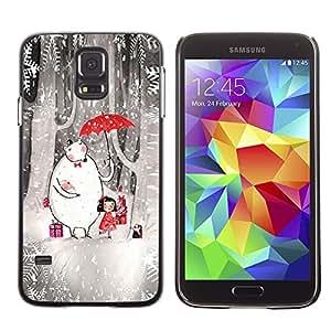 LECELL--Funda protectora / Cubierta / Piel For Samsung Galaxy S5 SM-G900 -- Drawing Kids Stars Forest Umbrella --
