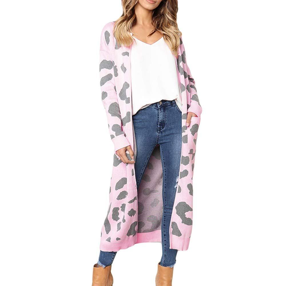 Shusuen Women Long Sleeve Open Front Leopard Knit Long Cardigan Casual Print Knitted Maxi Pink by Shusuen_Clothes