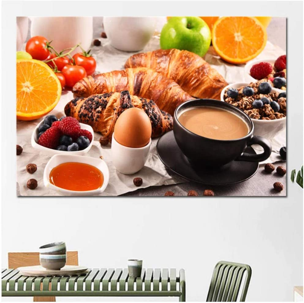 Zzdhewyz Canvas Painting Breakfast Afternoon Tea Print Canvas Coffee Bread Fruit Food Restaurant Poster Wall Art Decoration 40X60 cm No frame