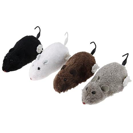 Ahomi 4 Piezas Lindo Ratas de Peluche mecánico Reloj ratón para Juguete Gato Perro Mascota Animales