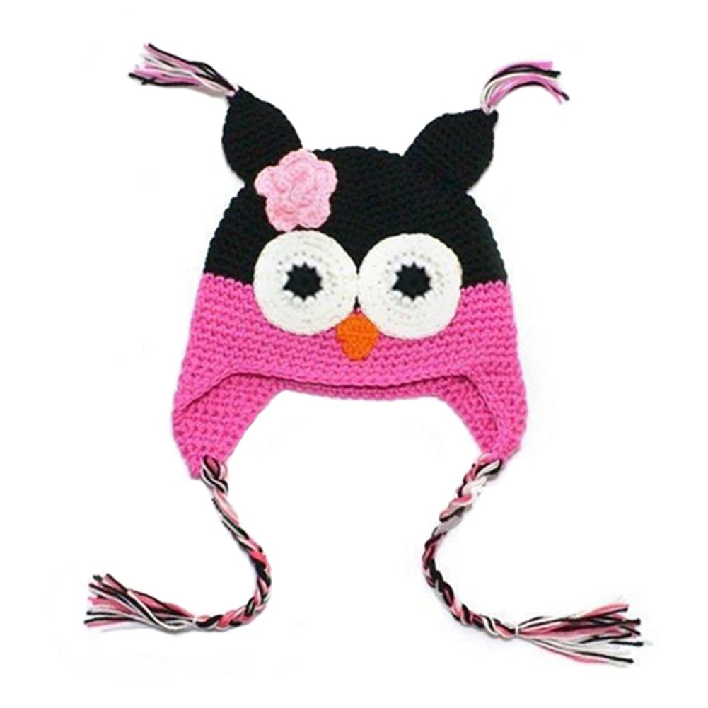 Amazon.com  Infant Baby Girl Toddler Handmade Knitted Crochet Hat Owl Cap  with Ear Flap (001)  Clothing fcf8cdcc817