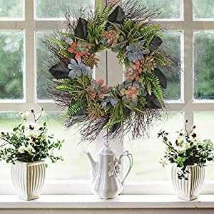 "Valery Madelyn 26"" Spring Door Wreath with Artificial Succulent Fern Leaves, Magnolia Flower Leaves for Front Door and Wall Décor 94"